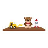 Hylla med leksaksymbolen stock illustrationer