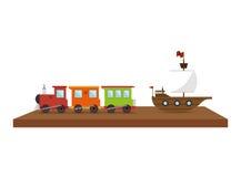 Hylla med leksaksymbolen vektor illustrationer