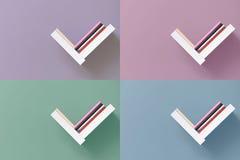 Hyllor av böcker på väggen royaltyfri fotografi