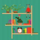 Hyllor med den färgrika bok-, klocka-, kaktus- och leksakvektorillustrationen Royaltyfria Bilder