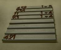 Hymn board in a church royalty free stock image