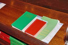 Hymn books on wood lecturn Stock Images