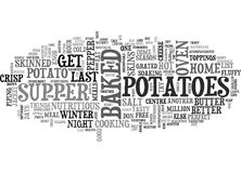 A Hymn To Baked Potatoesword Cloud. A HYMN TO BAKED POTATOES TEXT WORD CLOUD CONCEPT Stock Photos