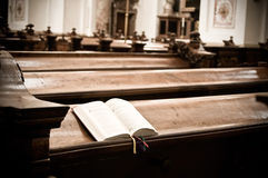 Hymnal in Church. Open Hymnal inside of an austrian Church Royalty Free Stock Image