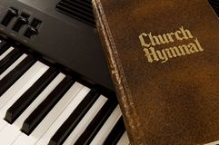 Hymnal & Keyboard. A keyboard and church hymnal Royalty Free Stock Photos
