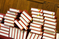 Hymnals and prayer books Stock Photo