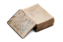 Hymnbook. Very old hymnbook with german characters written in 1912 isolated on white stock photography