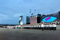 Hymne national de Singapour pendant le NDP 2009 Photo stock