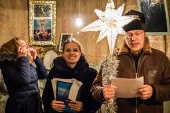 Hymnes voor Kerstmis 8 Januari 2016 in het Kaluga-gebied (Centraal Rusland) Royalty-vrije Stock Afbeelding