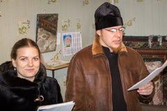 Hymnes voor Kerstmis 8 Januari 2016 in het Kaluga-gebied (Centraal Rusland) Stock Foto