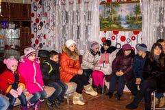 Hymnes voor Kerstmis 8 Januari 2016 in het Kaluga-gebied (Centraal Rusland) Stock Fotografie