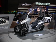 HYmotion. Peugeot's 3 wheel scooter Hymotion3 presented at the 2009 Geneva motorshow Stock Images