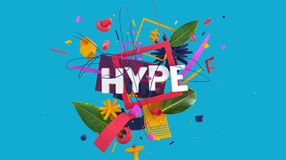 Hype word card. Effective social media card with HYPE word as a part of creative composition, high resolution 3D render Royalty Free Stock Photos