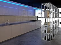 Hyper Modern Kitchen 2. Avant-garde kitchen with steel shelves and crockery Royalty Free Stock Images