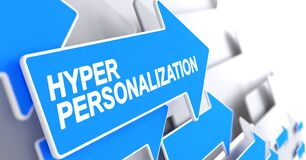 Hyper Personalization - Label On Blue Pointer. 3D. Royalty Free Stock Images