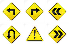 Hyper Realistic Vector Road Signs 2. Set of 6 realistic looking vector road signs including left, right, u-turn, exclamation point, and guidance arrows. Great Stock Illustration