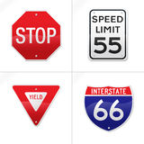 Hyper Realistic Vector Road Signs Stock Image