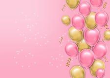 Hyper realistischer baloons Hintergrund Liebeskarte mit airballoons Vektor realistisch Rosa und gelbes frohes buntes stock abbildung
