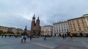 Hyper schackningsperiod för Krakow marknadsfyrkant stock video