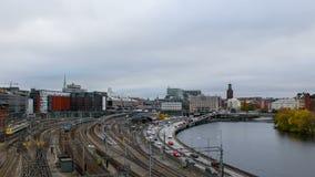 Hyper schackningsperiod för Stockholm central stångstation lager videofilmer