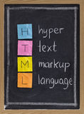 Hyper text markup language - html. Html (hyper text markup language) acronym explained on blackboard, color sticky notes and white chalk handwriting Stock Image