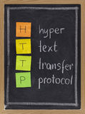 Hyper text transfer protocol  - http. Http (hyper text transfer protocol) acronym explained on blackboard, color sticky notes and white chalk handwriting Stock Photography