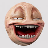 Hyper troll 3d illustration. Laughing internet troll head 3d illustration Royalty Free Stock Photos