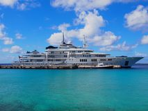 Hyper yacht Tatoosh. Tatoosh, Paul G. Allen`s hyper yacht, moored at Town Pier in Kralendijk, Bonaire, Dutch Antilles Stock Photos