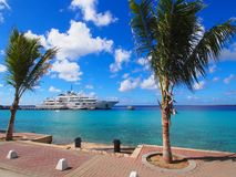 Hyper yacht Tatoosh. Tatoosh, Paul G. Allen`s hyper yacht, moored at Town Pier in Kralendijk, Bonaire, Dutch Antilles Royalty Free Stock Photo