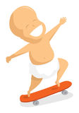 Hyperactive baby jumping on skate Royalty Free Stock Images