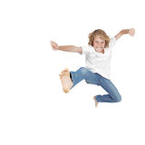 hyperactive Child jumping Stock Photo