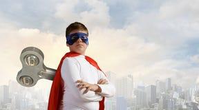 Hyperactive super child Stock Image