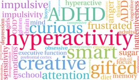 Hyperaktivitäts-Wort-Wolke Stockfoto