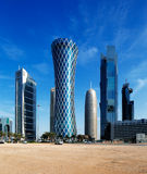 The hyperbolic tower of the West Bay district of Doha, Qatar Stock Image