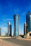 Hyperbolic wierza Zachodni Podpalany okręg Doha, Katar Obraz Royalty Free