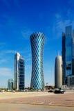 Hyperbolic wierza Zachodni Podpalany okręg Doha, Katar Zdjęcia Royalty Free