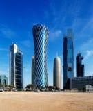 Hyperbolic wierza Zachodni Podpalany okręg Doha, Katar Obraz Stock