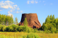 Hyperboloid cooling tower. Standing in Nikola Lenivets village Royalty Free Stock Photography