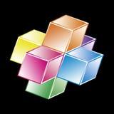 Hypercube básico - forma matemática Imagens de Stock Royalty Free