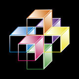 Hypercube básico - forma matemática Fotografia de Stock Royalty Free