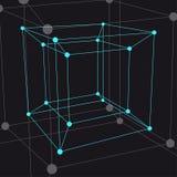 Hypercube 3D object. Vector Illustration Royalty Free Stock Image