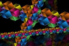 Hypercubes complexos - fundo geométrico abstrato Imagens de Stock Royalty Free