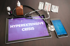 Hyperextensive crisis (heart disorder) diagnosis medical concept. On tablet screen with stethoscope royalty free stock photos