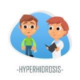Hyperhidrosisläkarundersökningbegrepp också vektor för coreldrawillustration Fotografering för Bildbyråer