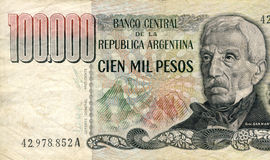 Hyperinflation. Argentine one hundred thousand peso bill from the hyperinflation era of the late 1970s Royalty Free Stock Photo