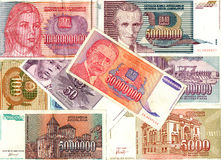 Hyperinflation of Yugoslavian dinar banknotes. Colorful background of old Yugoslavian dinar bank notes - Hyperinflation Royalty Free Stock Image