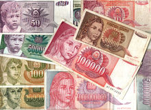 Hyperinflation of Yugoslavian dinar banknotes. Colorful background of old Yugoslavian dinar bank notes - Hyperinflation Royalty Free Stock Photo