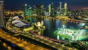 Hyperlapse του ορίζοντα πόλεων της Σιγκαπούρης τη νύχτα, Birdeyeview απόθεμα βίντεο