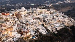 Hyperlapse ночи городка Fira, Santorini видеоматериал