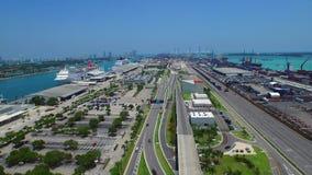 Hyperlapse aerial video Port Miami 4k stock video